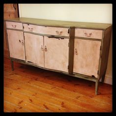 Shabby chic two tone sideboard heavily distressed and aged Annie Sloan Chalk Paint, Sideboard, Shabby Chic, Cabinet, Storage, Projects, Furniture, Home Decor, Clothes Stand