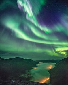 Aurora Borealis. By Ole Salomonsen Photography (@arcticlightphoto) on Instagram. «Skyfall» - At the top of a mountain in northern Norway, the sky became vividly alive, sparkling and showing off power, just like a huge waterfall, without the sounds though… The only sounds were from me shouting in excitement.