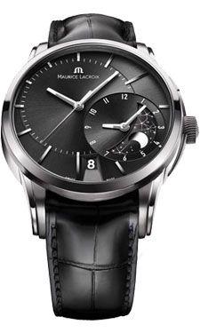 Maurice Lacroix Decentrique GMT Black Dial Black Leather Mens Watch PT6118-SS001-331 2900 usd