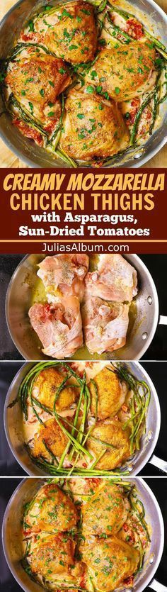 Creamy Chicken Thighs and Asparagus smothered in a Mozzarella cheese sauce with sun-dried tomatoes. Easy dinner with lots of flavor. Chicken Thighs with Creamy Asparagus & Sun-Dried Tomato Sauce - easy dinner recipe perfect for Sun Dried Tomato Sauce, Dried Tomatoes, Cooking Recipes, Healthy Recipes, Drink Recipes, Asian Recipes, Cooking Tips, Best Chicken Recipes, Chicken Meals
