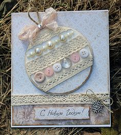 елочная игрушка Christmas Card Crafts, Homemade Christmas Cards, Christmas Cards To Make, Christmas Tag, Homemade Cards, Handmade Christmas, Holiday Crafts, Button Crafts, Greeting Cards Handmade