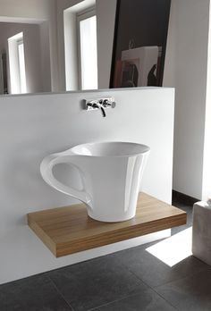 Mild Cup Furniture as Unique Item Designed: Extraordinary Bathroom Washbasin Sink Cup Shape Furniture Modern Design ~ hivenn.com Furniture Inspiration