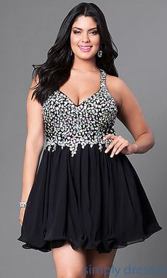 21edd942269 Plus-Size Short Party Dress with Beaded V-Neck Bodice