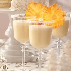 Frosty Pineapple Punch can oz) unsweetened pineapple juice 1 can oz) cream of coconut 1 qt vanilla ice cream 1 liter club soda) (summer rum drinks punch recipes) Holiday Drinks, Party Drinks, Cocktail Drinks, Fun Drinks, Beverages, Smoothies, Smoothie Drinks, Ice Cream 1, Vanilla Ice Cream