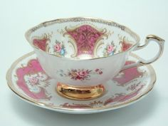 Paragon Pink Gold Ground Pink Red Brown Blue Teacup Set