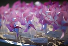 pink pinwheel favor/escort cards perfect for outdoors..@Vannary Thach-Song