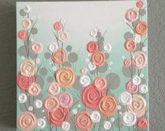 Kinderzimmer, Mint, Koralle, und Pfirsich strukturierte Blumen, wählen Sie Ihre Größe angepasst auf Bestellung