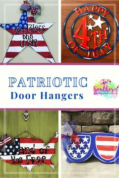 Visit the blog for some great ideas for patriotic door hanger designs! Lots of stars and stripes and red, white, and blue! Fourth Of July Decor, Door Hangers, Stripes, Doors, Gate