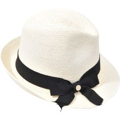 Inverni Straw Hat with bow with studded bow (75 CAD) ❤ liked on Polyvore featuring accessories, hats, headwear, hair, inverni, studded hat, inverni hats, bow hat and straw hat
