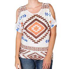Vocal Women's Aztec Cut-Out Shoulder Short Sleeve Shirt