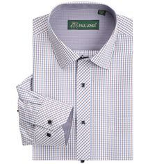 2015 New Fashion Men Casual Plaid Long Sleeve Contrast Color Turn-down Collar Dress Shirt