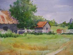 Original watercolor by Patricia Maxwell  11x15. North Georgia Farm.