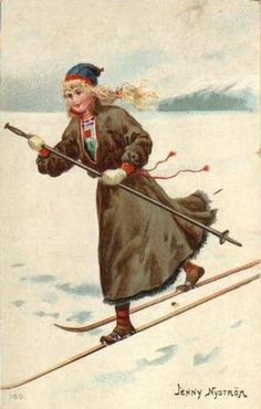 Vintage postcard by Jenny Nyström Swedish Christmas, Magical Christmas, Victorian Christmas, Vintage Christmas Cards, Vintage Cards, Vintage Images, Illustration Noel, Winter Illustration, Illustrations