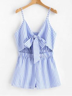 Shop for Cami Striped Tie Front Romper LIGHT SKY BLUE: Jumpsuits & Rompers S at ZAFUL. Only $19.99 and free shipping!