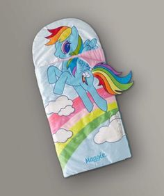 Girls Personalized My Little Pony Sleeping Bag - exclusively ours - When a girl slips off to dreamland with Rainbow Dash, who knows what adventures lie ahead.