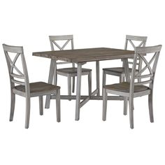Standard Fairhaven 5-Piece Dining Set in Oak Reclaimed and Rustic Grey | Nebraska Furniture Mart Bistro Table Set, Bar Table Sets, Table And Chair Sets, Dining Arm Chair, Dining Room Furniture, Dining Room Table, Wolf Furniture, Counter Height Table Sets, Casual Dining Rooms