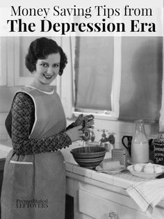 Use these Money Saving Tips from the Depression Era to stretch your budget. These practical tips from the Great Depression can help you save money now. Inspiration from our grandparents, money saving idea and family-friendly life hacks. Ways To Save Money, Money Tips, Money Saving Tips, Depression Era Recipes, Money Now, Savings Challenge, Great Depression, Frugal Living Tips, Frugal Family