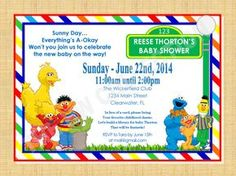 Sesame Street Baby Shower Invitation Digital By TheHWCollection, $8.50