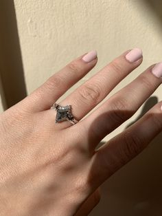 A custom cut kite shape black salt & pepper diamond with a carve to fit diamond band handcrafted by FireWorks Gallery Custom Goldsmiths in Halifax, Canada. Halifax Canada, Salt And Pepper Diamond, Signature Design, Bridal Rings, Diamond Bands, Kite, Black Diamond, Fireworks, Carving