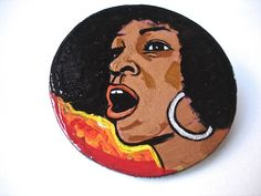 Angela Davis  Wooden Brooch by LuceCultura on Etsy, €15.00