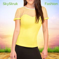 Yellow Top w Sheer Mesh & Crystal Neckline Look stunning this summer in this yellow shell, sheer mesh shoulders and beautiful crystal stones around neckline.  V neck back with crystals extending down. 95% polyester, 5% spandex Pastel  Tops