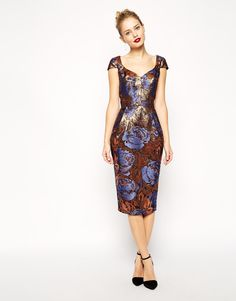 61a2ed36d0 Image 1 of ASOS Foiled Jacquard Hitchcock Dress With Cap Sleeve Rent Dresses
