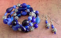 Bewitching Blues Beaded Wrap BRACELET & by BjeweledVintage on Etsy