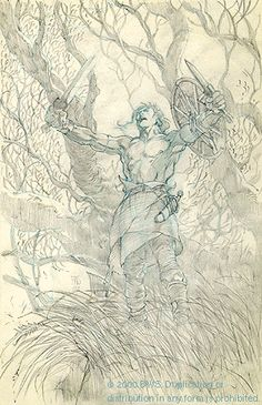 Barry Windsor-Smith: CELTIC WARRIOR Original Drawing