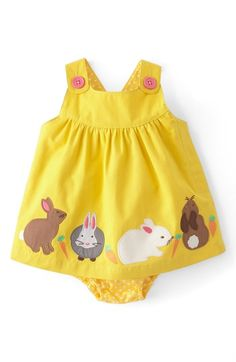 Mini Boden Appliqué Button Strap Dress (Baby Girls) available at #Nordstrom