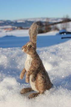 Naald vilten grijze Haas konijn of Bunny.Miniature soft