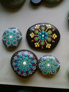 Painted Rock _ Teal Magenta & Yellow Dot Art Flower _ Original Home decor_ Painted Stones by P4MirandaPitrone on Etsy