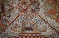 Ringsted, Sjælland, Sct. Bendts kirke, vault at crossing, detail enlargements are worth the effort ; northern section showing showing queen Agnes, widow of Erik Klipping