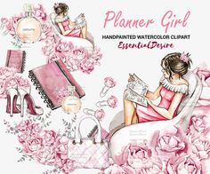 Watercolor Planner Girl Clipart Cute Pink by EssentialDesire