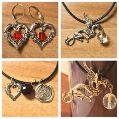 Griffon, Hearts, Game of Thrones, Shadowhunter inspired, necklaces and earrings  Griffon with crystal bead with an 18 black cord necklace Shadowhunter gothic charms with an 18 black cord necklace Heart earrings (sterling silver plated ear hooks) with Red glass gems  No Griffons were harmed in the m