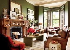 Olive living room by Elaine Griffin