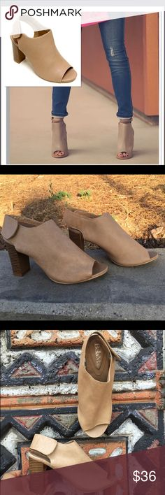 ⚡️flash sale⚡️🍂Beige open toe booties🍂 This pair of shoes is a must have! The wide heel makes a comfortable style.  We love this worn with skinny jeans     ❤️new in box  ❤️more size  will be available by   Saturday!!   ❤️very comfortable style  Any questions let know Shoes Ankle Boots & Booties