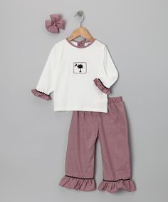 Take a look at this Carolina Plaid Ruffle Pants Set - Infant, Toddler & Girls on zulily today!