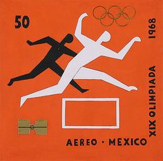 Carlos Mérida (Guatemala, active Mexico, 1891-1984)  Commemorative Postage Stamp Drawing for 19th Olympic Games, 1968  Print, Silkscreen, Image: 5 7/8 x 5 7/8 in. (15 x 15 cm)  The Bernard and Edith Lewin Collection of Mexican Art (AS1997.LWN.570)  Latin American Art Department. LACMA