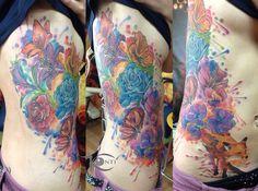 fox flowers watercolor tattoo Gdansk