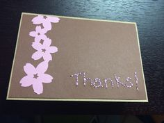 DIY thank you card. Hand stitched lettering. Edger punch for flowers.