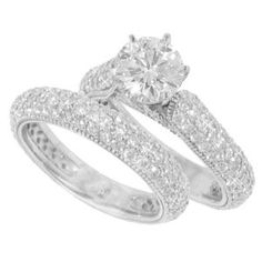 3.36 ct. TW GIA Certified Round Pave Diamond Engagement Set with Wedding Band in 14k
