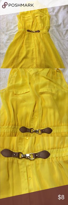 "Adorable yellow dress Never worn without tags Yellow dress with faux brown belt in the front. Top layer is of sheer material while the lining is 100% polyester. Length of dress is 36 "". Dresses Mini"