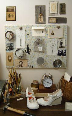 Paper Acorn, floral, note board, jars, clock, wood, art, illustration, desk, studio, workspace