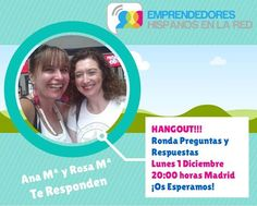 """Feliz Comienzo de Semana Amig@s!!!  Atentos Hoy Lunes 1 de Diciembre a las 20.h Madrid Ronda de Preguntas y Respuestas: """"Cómo Te Podemos Ayudar a Tener un Negocio de Éxito"""" Conducido por Rosa Maria Rodriguez y Ana María Gallego.  >>>SI QUIERES SABER MÁS DEL GRUPO>>>http://bit.ly/1AZY4MY"""