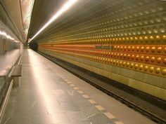 Hdradcanska Metro station in Prague, Czech Republic