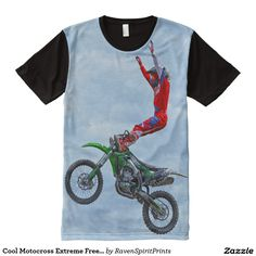 Cool Motocross Extreme Freestyle Stunt Art Shirt All-Over Print T-shirt