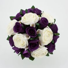 """Let the """"drama"""" in your wedding be the contrast of the white against the dark purple. Wedding Bouquet Purple Silver Wedding Flowers found on Polyvore"""
