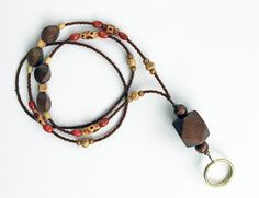 Spice - beaded badge lanyard - brown and gold glass, wood beaded ID badge…