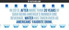 In after more than 20 years of soda being America's number one beverage, water has taken over as Americans' favorite drink. Random Facts, Fun Facts, Beverages, Drinks, Number One, Interesting Facts, 20 Years, Did You Know, Soda