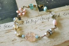 Tess.glass beaded,vintage beaded,romantic bracelet. Tiedupmemories